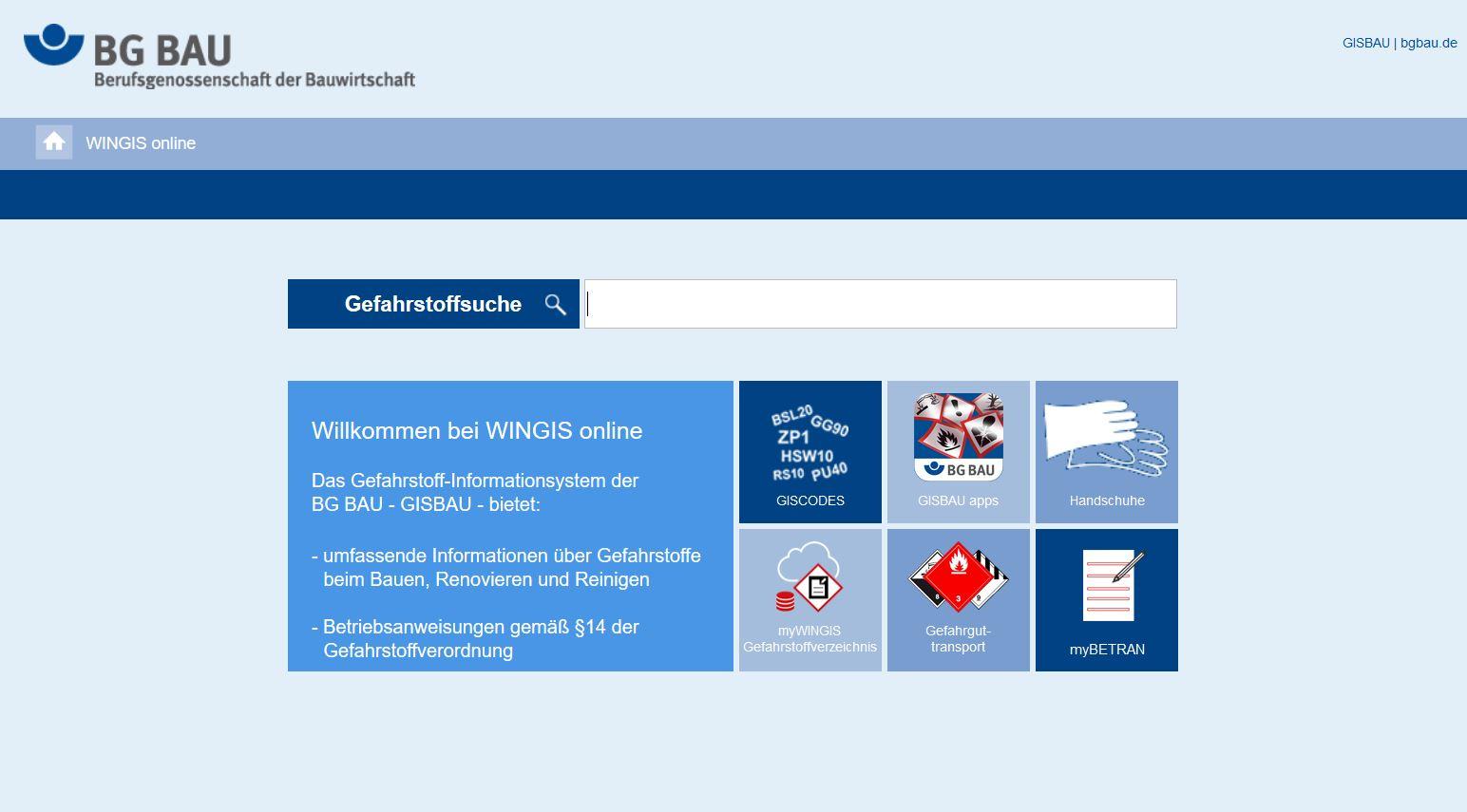 Startseite der Website WINGIS online