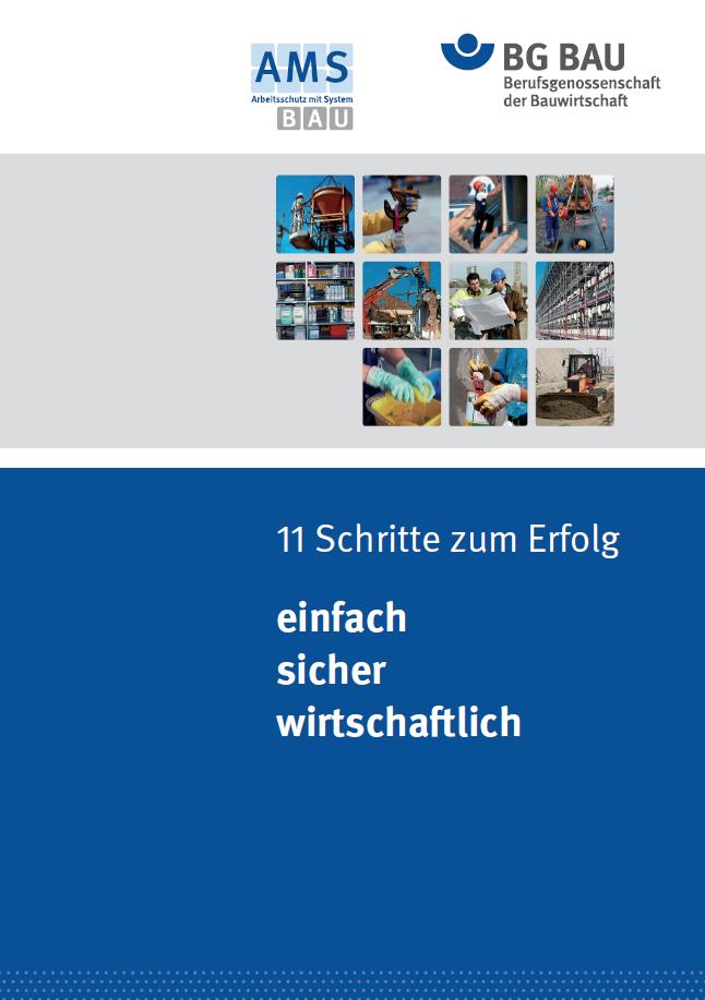 Titelbild zum AMS BAU Flyer 11 Schritte zum Erfolg