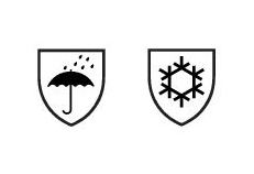 Symbole wasserdicht und Kälteschutz