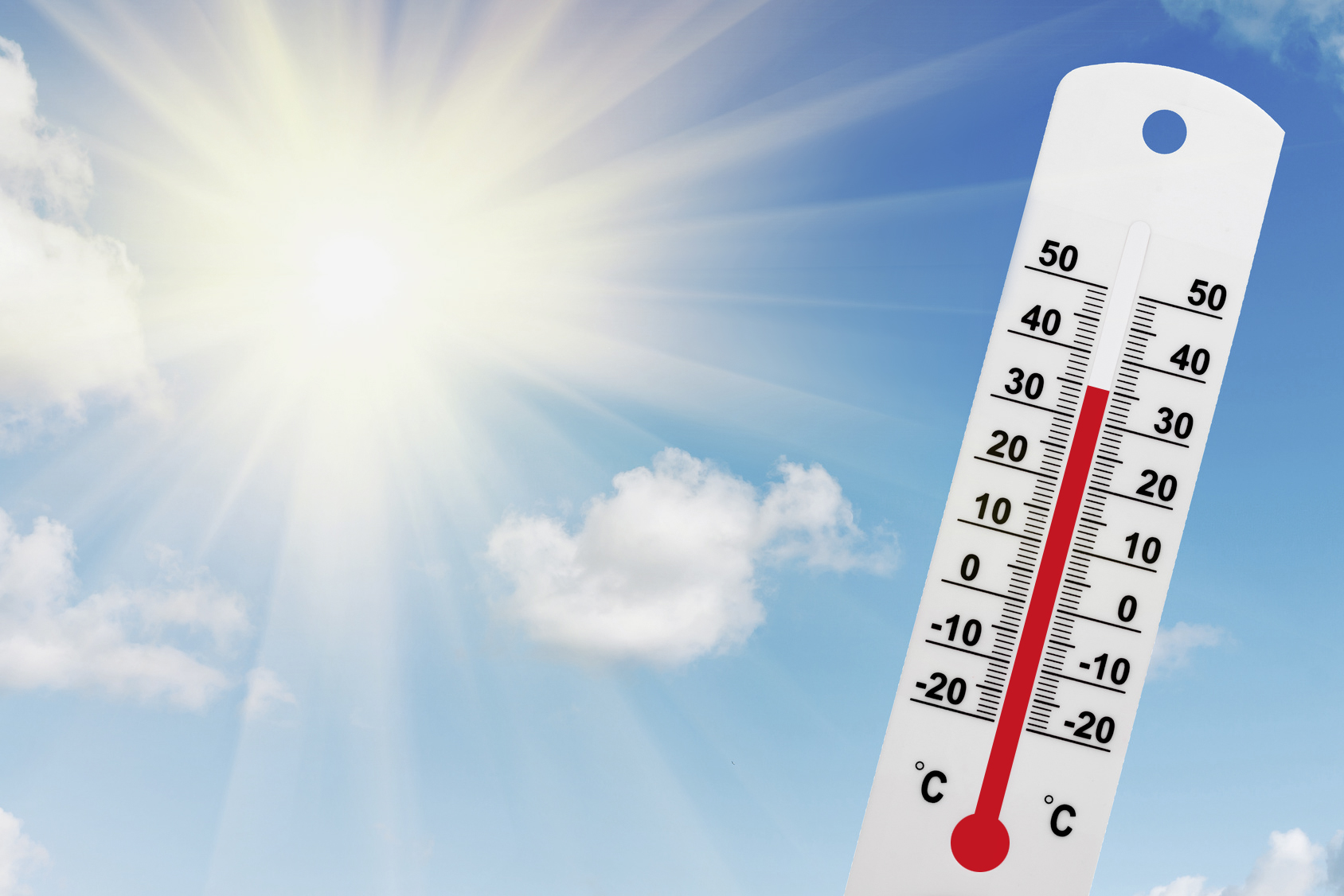 Sonne mit Thermometer